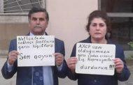 İşdən çıxarılan Neftçala cəbhəçiləri etiraz aksiyası keçirdi FOTO